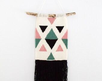 Woven Wall Hanging / Multi Colour Triangle and Diamond Design