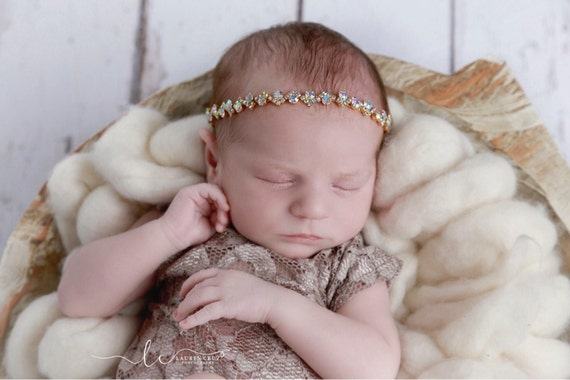 Gold and Iridescent Rhinestone Tieback or Headband, Photo Prop for newborns through adults, Lil Miss Sweet Pea, infant, bebe, sparkle