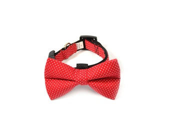 Red Polka Dot Bow Tie and Collar