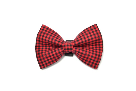 Buffalo Check Red and Black Dog Bow Tie