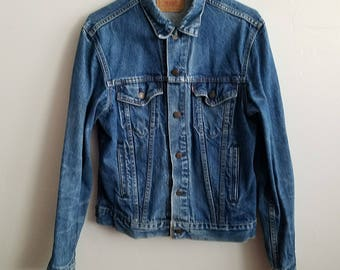 Vintage Levis Denim Jean Jacket 42 L Mens Blue Button Down 70s USA Made 71506 0216 Red Tab