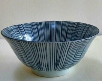 Vintage Porcelain Arita Bowl With Blue Lines Design,Small, Rice Bowl,Soup Bowl,Cereal Bowls.Planter for Succulents