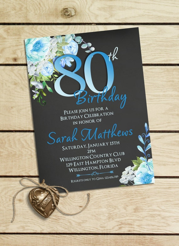 Blue Watercolor Floral 80th Birthday Invitation