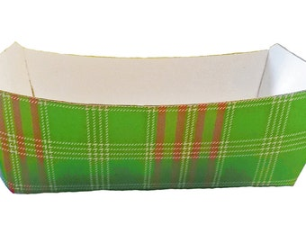 Red and Green Tartan Plaid Paper Food Tray - Set of 12