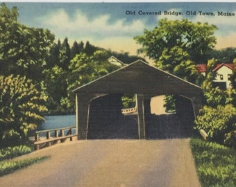 Maine Vintage Postcard Old Covered Bridge Old Town Maine Linen Postcard Class Reunion Invitation