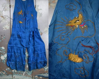 1920s - 1930s Beach Pajamas - Rare Chinese dragon lame Wide Leg Beach Beach Pyjama Loungewear Pantsuit