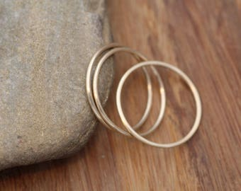 14 kt Round Gold 1mm Matte Round Stacking Ring(s) - Skinny Rings - Barely There - Gold Midi Rings - 14 kt Rings - 14 kt Stacking Ring