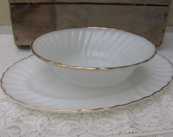 Vintage White Milk Glass Bowl and Platter, Serving Dishes, Gold Trim, Swirl Pattern