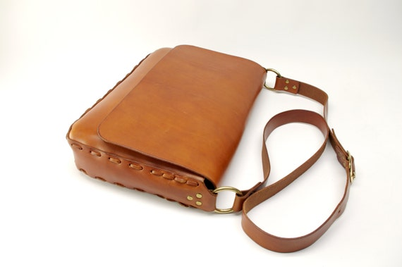 Saddle Tan Hand Laced Leather Messenger Bag - CLEARANCE -
