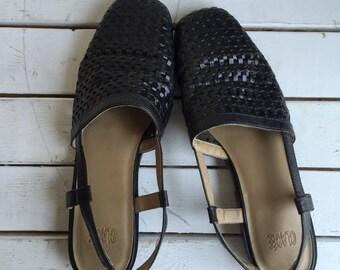 Vintage 90's Woven Leather Sandals Slingbacks 6.5 7
