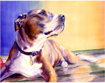 "11x14"" Pit Bull Dog Watercolor Art Print [Pit Bull Painting Pit Bull Watercolor Pit Bull Print Pit Bull Art Pit Bull Art Print]"