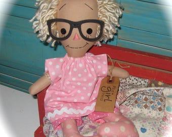 Blonde Doll Raggedy Annie Ann in PINK with Glasses Rag Doll OOAK