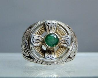 RESERVED... Vintage Sterling Silver Natural Emerald Celtic Ring Size 9 Ornate Design DanPickedMinerals