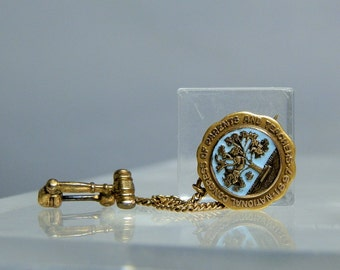 Antique 10k Yellow Gold Blue Enamel National Congress of Parents and Teachers Lapel Brooch Pin circa 1897 10k Gold and Gold Filled Combo