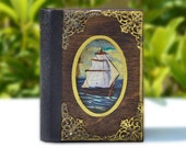 Mini journal,Travel notebook,Marine décor,Old ship,Navy theme,Hand painted ship,Sea lovers,Ship Journal,Hancrafted notebook