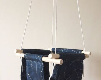 Gold, Silver and Navy Constellations Fabric Baby and Toddler Swing - Fabric and Wood Interior Swing
