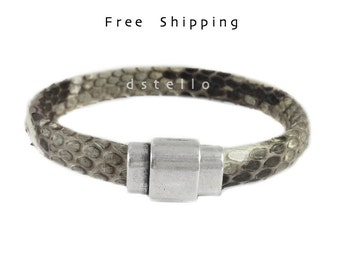 Men's snakeskin bracelet, Men's jewelry, Genuine authentic python snake skin men's cuff with magnetic clasp, Custom made gift for him
