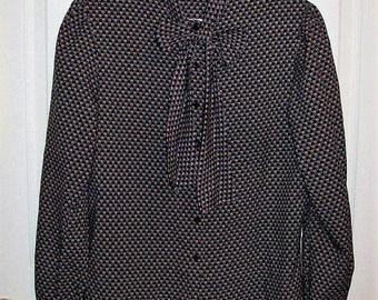 Vintage 1970s Ladies Black Geometric Print Secretary Blouse Ship n Shore Medium Only 7 USD