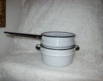 Vintage White & Navy Enamelware Pans Double Boiler Bottom Both for 10 USD