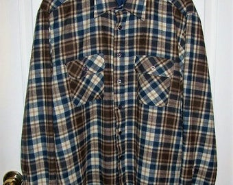 "Vintage Mens Brown Plaid Flannel Shirt by Bergners Medium 15-15 1/2"" Neck Only 14 USD"
