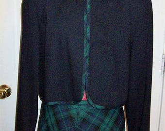 Vintage Ladies Navy Blue Plaid Trimmed Blazer by Orvis Size 8 Only 10 USD