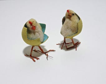 Antique Spun Cotton Baby Chicks, cotton batting Ornament, Antique Easter, Feather Tree Ornament, Antique Primitive Easter, Spring Chick