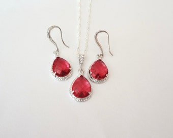Ruby red Necklace and Earring set - Teardrop set - Sterling Silver - Bridal Jewelry - Bridesmaids - July birthstone - Gift -