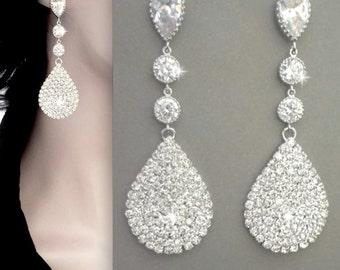 Crystal rhinestone earrings, Luminous, Large - Long, Teardrop earrings, Statement earrings, Sterling posts, Gatsby wedding earrings