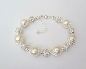 Pearl bracelet - Crystal Rhinestones - Fireballs - Elegant - Brides bracelet - Bridal jewelry - Elegant - Extender - The LACEY collection -