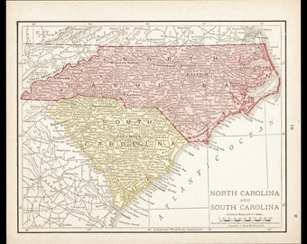 Small North Carolina Map South Carolina Map (Antique State Decor, Early 1900s Rand McNally Map) No. 31=3