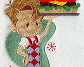 Diner Boy with Hamburger Embroidered on Kona Cotton Quilt Block // Plain Weave Cotton Dish Towel // Also Available on Other Items