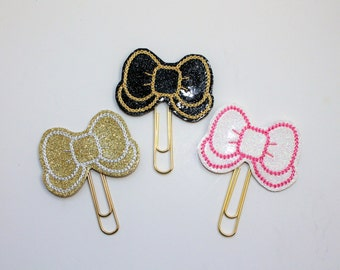 Choice of bow with tails glitter vinyl planner paperclip, Bow bookmark, Bow vinyl paperclip, Planner paperclip accessories
