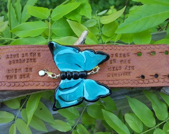 Ralph Waldo Emerson Quote on Leather Cuff Adorned with a Turqoise Glass Butterfly