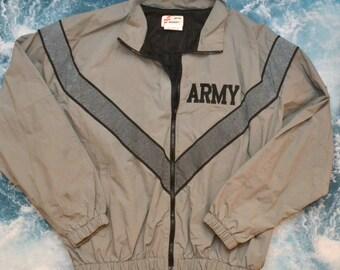 Vintage 80s ARMY Gray Work Coat Windbreaker Track Jacket