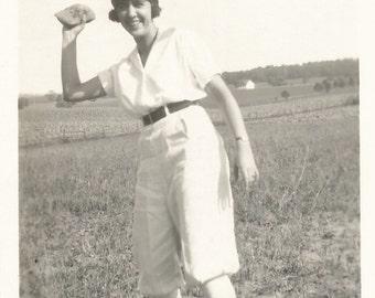 "Vintage Snapshot ""Bean Bag Toss"" Flapper Headband Throw Outdoor Game Found Photo"