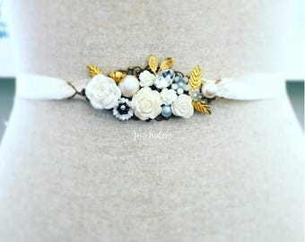 Pearl Wedding Belt, Personalised Bridal Belt, Made to Order, Gold Leaf, White Flower, Ivory, Customised Sash, Country, Rustic, Garden