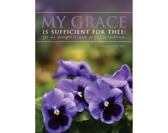 My Grace is Sufficient for Thee for my strength is made perfect in weakness- 2 Cor 12:8 KJV Scripture - 12 x 16 Christian Scripture Wall Art