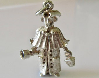 Large Silver Town Crier Man Moving Charm