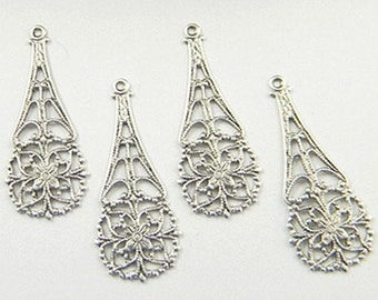 Antiqued Silver Filigree, Teardrop Dangle, Floral Pendant, Brass Filigree 12mm x 31mm - 4 pcs. (sl101a)