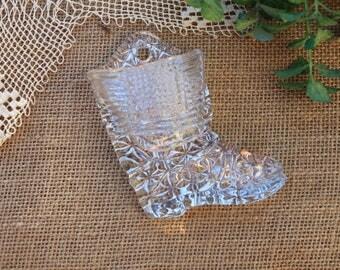 glass boot fireplace decor match holder