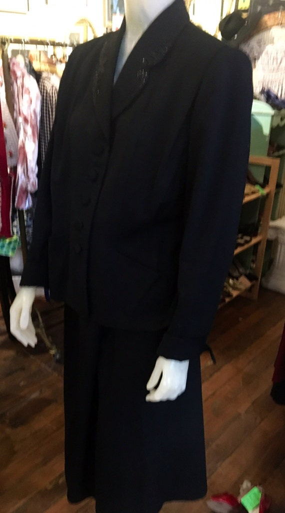 "Vintage 1950s Black Beaded Gaberdine Suit From Wilshire Classic Waist 35"" XL"