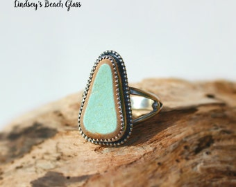 Hawaiian Kauai Turquoise Beach Tile Set in 925 Sterling Silver Handcrafted Ring - Size 6.75