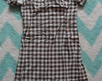 1960's BROWN GINGHAM SHIFT dress with sheer lace yoke xs