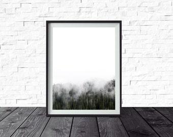 Minimalist Wall Art, Foggy Trees, Mountain Print, Simple Decor, Affordable Wall Art, Scandinavian Decor, Printable Poster, Digital Download