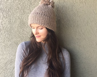 Knitted Beanie Hat with Pom Pom / Double Brim Warm Cozy Winter Hat / Charcoal, Light Grey, or Taupe
