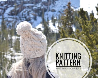 Knitting Pattern | Cable Beanie Hat With Pom Slouch Hat / Easy Knit Pattern, Beginner Instant Download / Fall Fashion  DIY Easy Knit Pattern