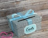 Card Box Glitter Silver & Baby Blue Gift Money Box for Any Event | Additional Colors Available