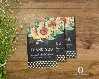 Sunflower Bridal Shower Favor Tags, Floral Bridal Shower Favor Tags, Bridal Shower Gift Tags, Floral, printable, DIY chalkboard