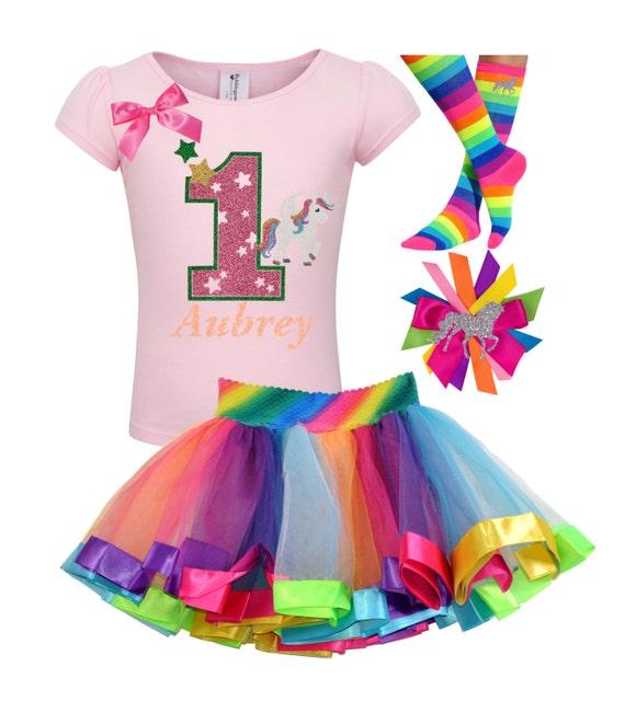 1st Birthday Outfit Unicorn Rainbow Tutu Fairytale Birthday