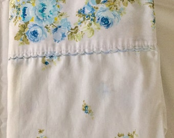 Vintage 1960s 70s Sears Blue Peonies Roses Full Flat Sheet